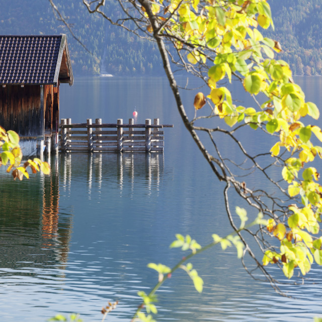 """Boat house at Walchensee Lake in autumn, Bavarian Alps, Upper Bavaria,..."" stock image"