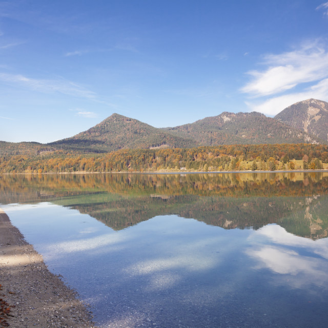 """Herzogstand Mountain, Heimgarten Mountain reflecting in Walchnsee Lake in..."" stock image"