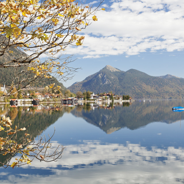 """Walchensee Village and Jochberg Mountain reflecting in Walchensee Lake in..."" stock image"