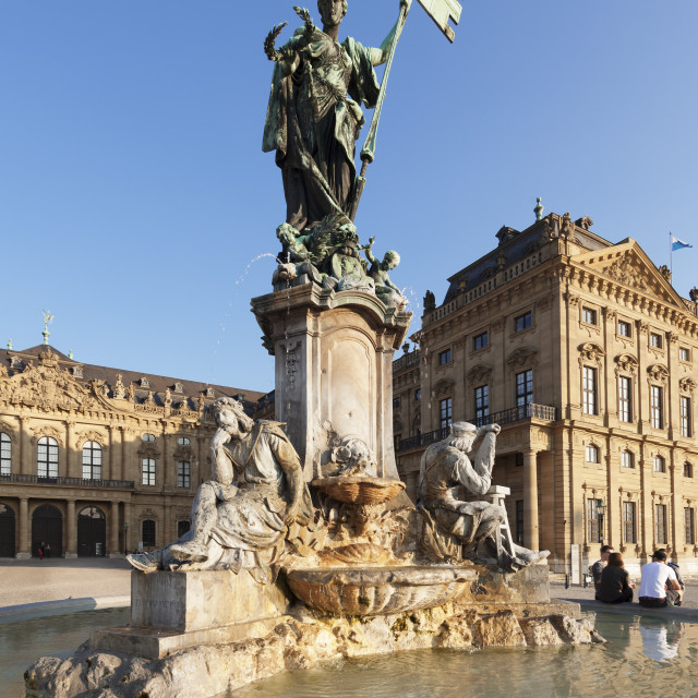 """""""Franconia Fountain at the Residenz, Baroque Palace, built by Balthasar..."""" stock image"""