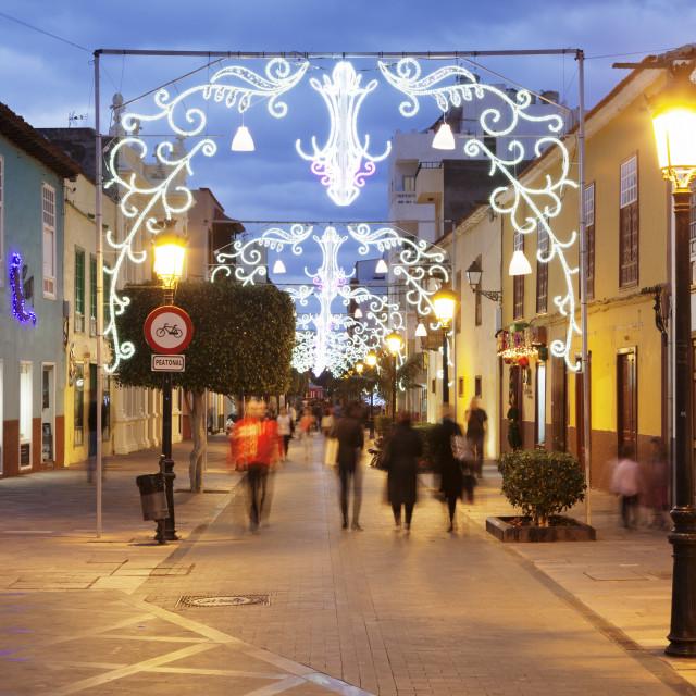 """Calle Real at Christmas time, San Sebastian, La Gomera, Canary Islands,..."" stock image"