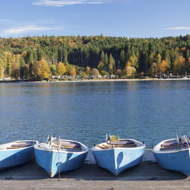 """Boat Hire, Walchensee Village, Walchensee Lake, Bavarian Alps, Upper Bavaria,..."" stock image"