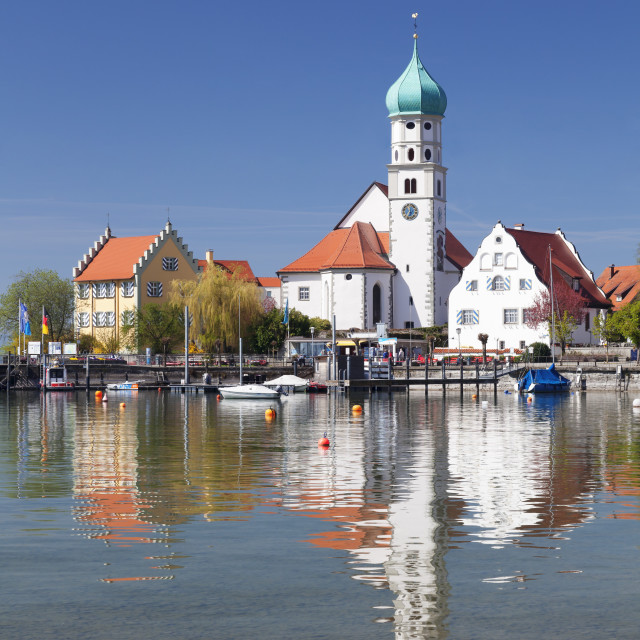"""""""St.. Georg Church and Castle, Peninsula of Wasserburg, Lake Constance,..."""" stock image"""