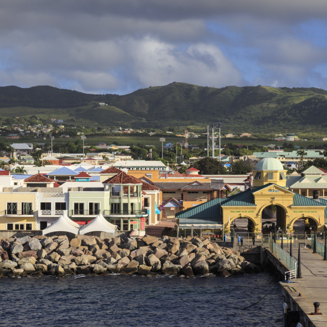 """Port Zante cruise ship port, Basseterre, St. Kitts, St. Kitts and Nevis, West..."" stock image"