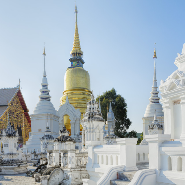 """Chedis (stupas) at the temple of Wat Suan Dok, Chiang Mai, Thailand,..."" stock image"