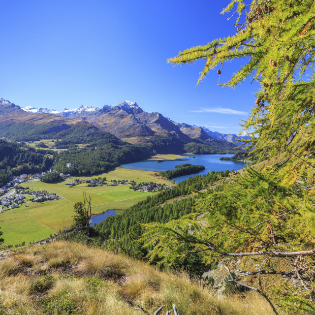 """In summer the Engadine valley becomes a paradise for mountain lovers with..."" stock image"