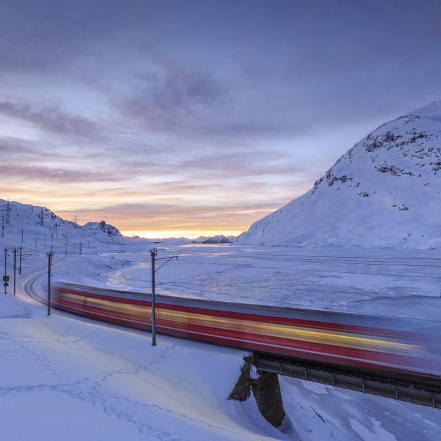 """The Bernina Express red train, UNESCO World Heritage Site, Graubunden, Swiss..."" stock image"