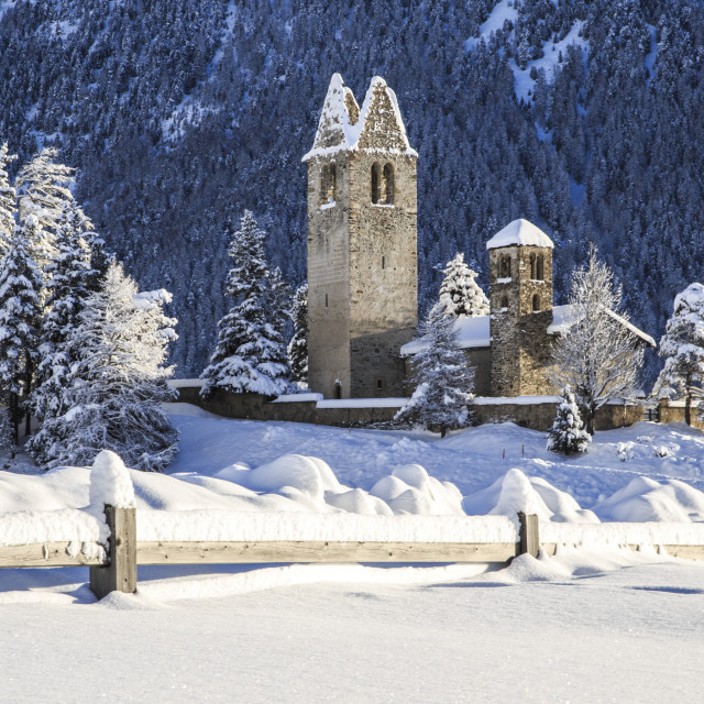 """Saint Gian Church after a snowfall in Engadine, Switzerland, Europe"" stock image"