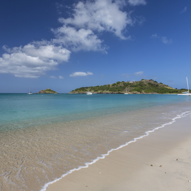 """Deep Bay, a beach on the island of Antigua, Leeward Islands, West Indies,..."" stock image"