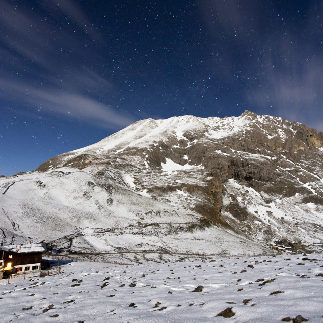 """The mountain hut at the foot of Plattkofel (Sasso Piatto) under a starry..."" stock image"