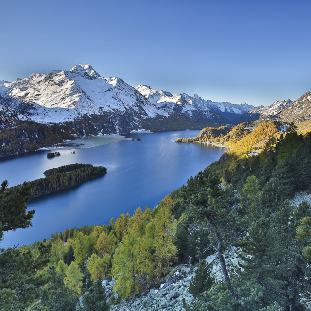 """Lake Sils, between Maloja Pass and Lake Silvaplana, overlooked by several..."" stock image"