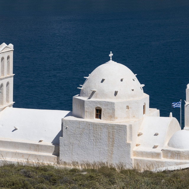 """Agia Irini church, Gialos, Ios, Cyclades, Greece"" stock image"
