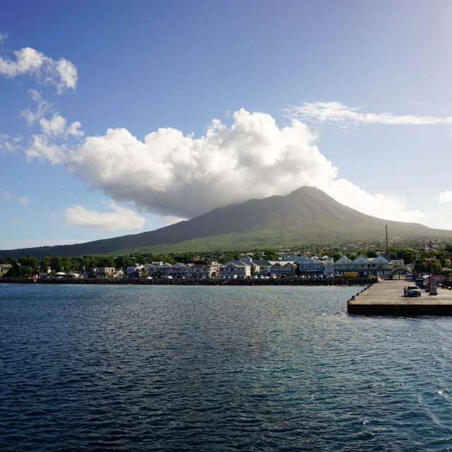 """""""Charlestown with Mount Nevis in background, Nevis, St. Kitts and Nevis,..."""" stock image"""