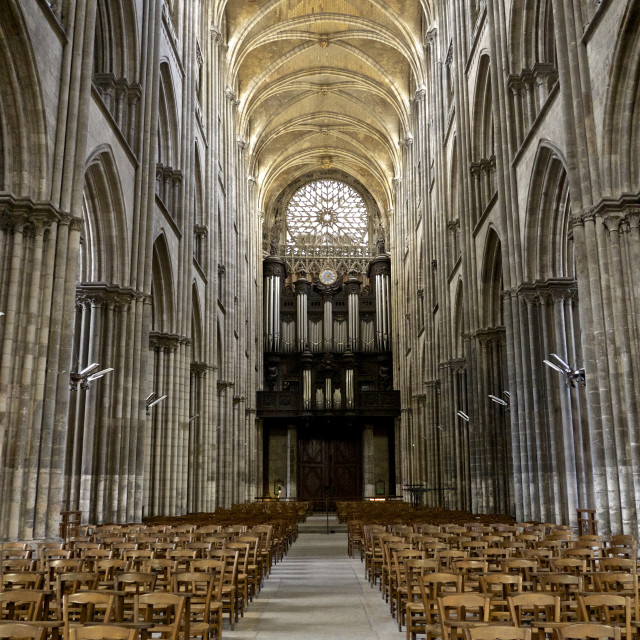 """Interior of Notre Dame cathedral, built between 12th and 15th century, Rouen,..."" stock image"