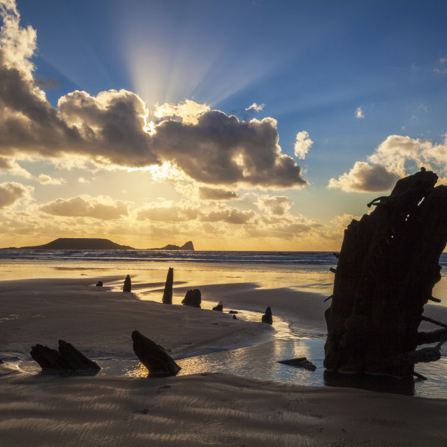 """Helvetia Wreck, Rhossili Bay, Gower, Wales, United Kingdom, Europe"" stock image"