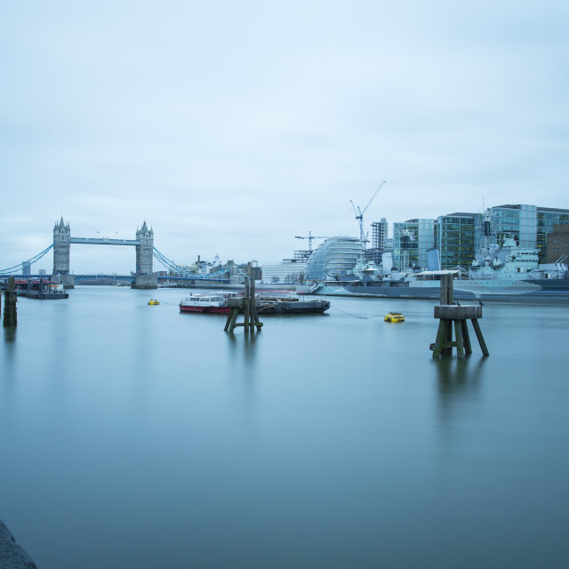 """River Thames and HMS Belfast"" stock image"