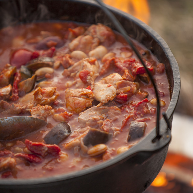 """""""Stew Cooking on an Open Fire"""" stock image"""