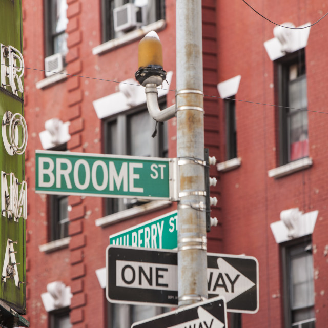 """Broome St in Little Italy"" stock image"