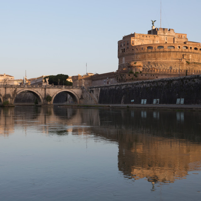 """The River Tiber with Castel Sant' Angelo, Ponte Sant' Angelo bridge and the..."" stock image"