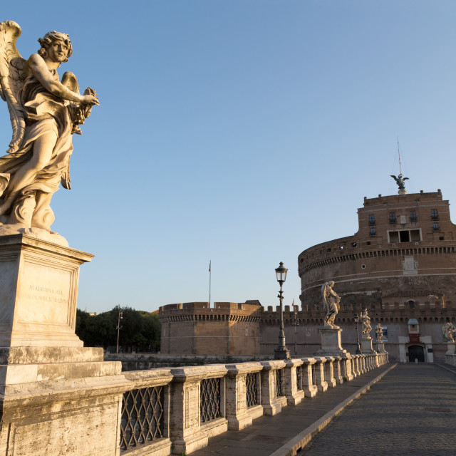 """Angel statues on Ponte Sant' Angelo bridge with Castel Sant' Angelo, Rome,..."" stock image"