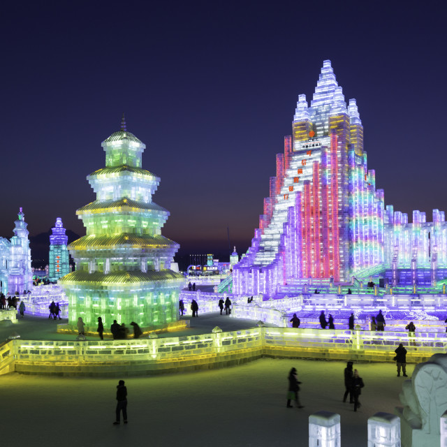 """""""Spectacular illuminated ice sculptures at the Harbin Ice and Snow Festival in..."""" stock image"""