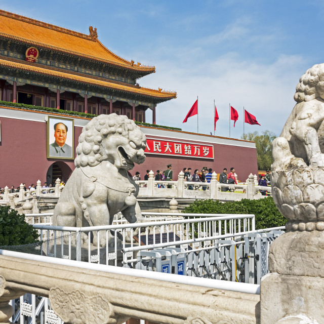 """""""Tiananmen Sqaure in front of portrait of Mao Zedong on Gate of Heavenly Peace..."""" stock image"""