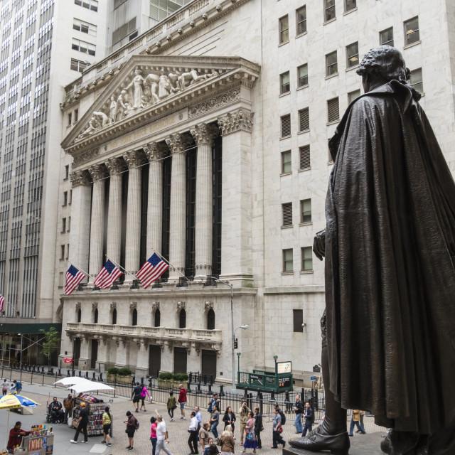 """New York Stock Exchange and George Washington statue, Wall Street, Manhattan,..."" stock image"