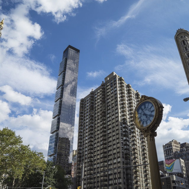 """""""Flat Iron Building and Fifth Avenue Building Clock, Flat Iron District,..."""" stock image"""