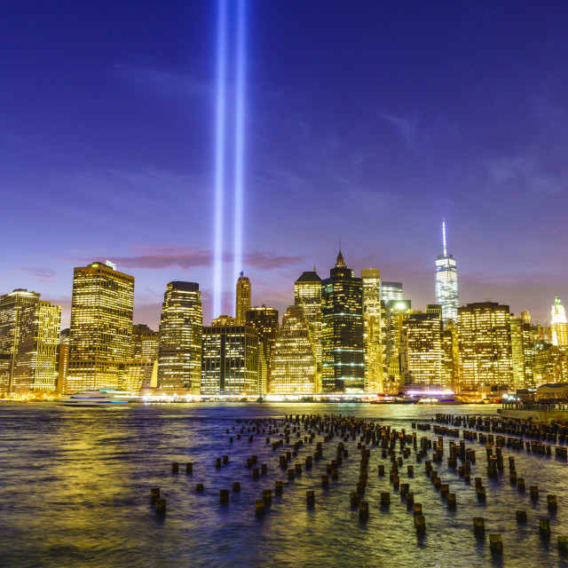 """""""Lower Manhattan skyscrapers including One World Trade Center from across the..."""" stock image"""