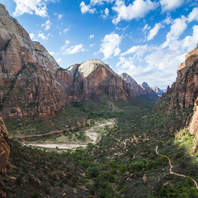 """View over the cliffs of the Zion National Park and the Angel's Landing path,..."" stock image"