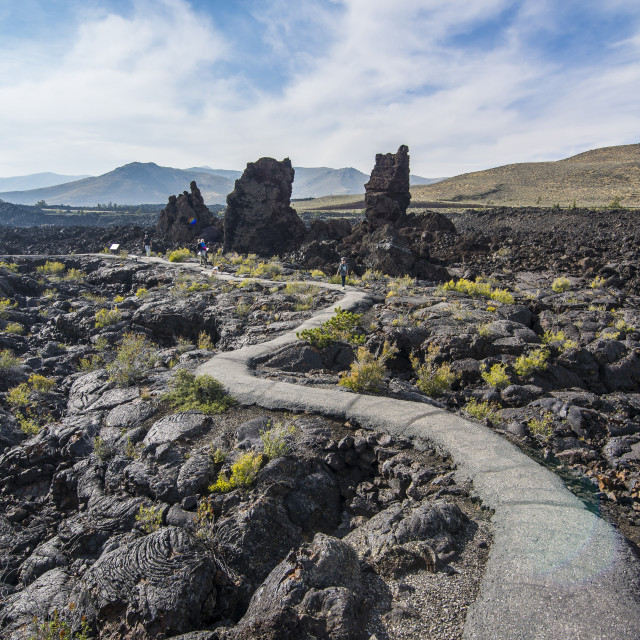 """""""Walkway through cold lava in the Craters of the Moon National Park, Idaho,..."""" stock image"""