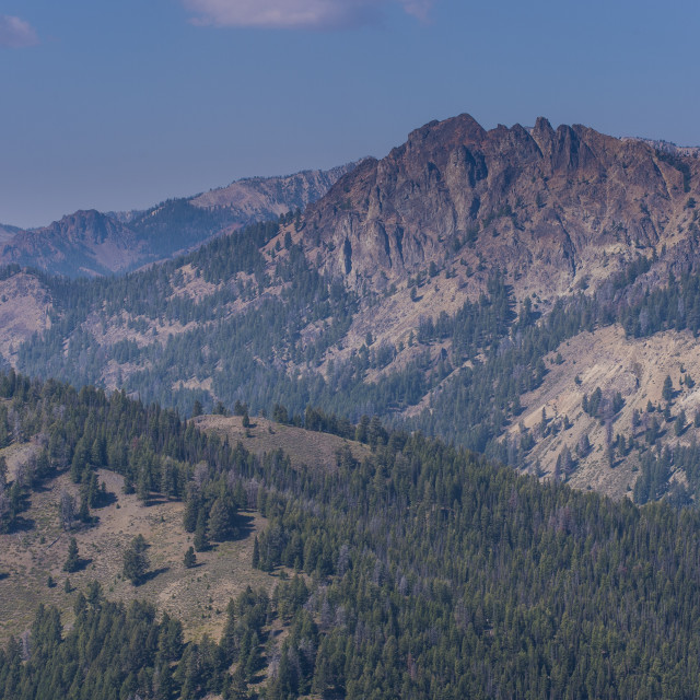 """""""View over the Sawtooth National Forest north of Sun Valley, Idaho, United..."""" stock image"""
