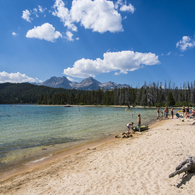 """""""Sandy beach on Redfish Lake in a valley north of Sun Valley, Sawtooth..."""" stock image"""