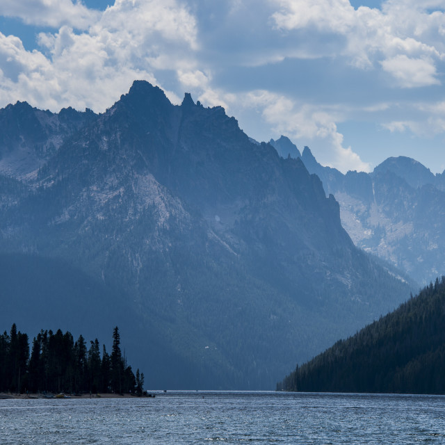 """""""Redfish Lake in a valley north of Sun Valley, Sawtooth National Forest,..."""" stock image"""