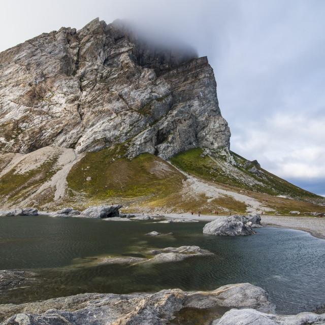 """The bay of Alkhornet, Svalbard, Arctic, Norway, Scandinavia, Europe"" stock image"