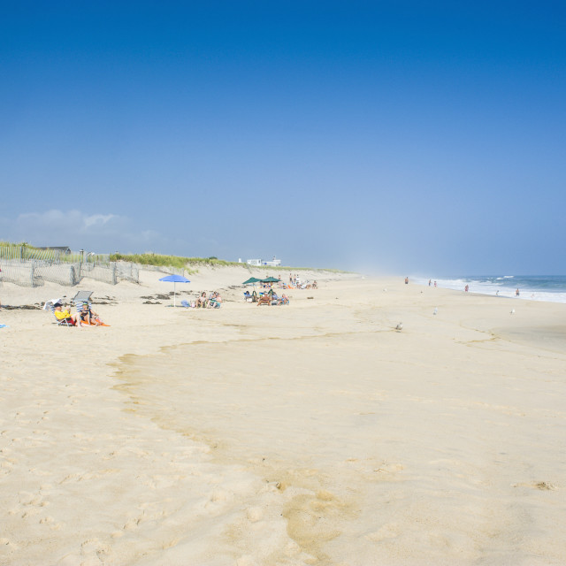 """""""Long sandy beach in the Hamptons, Long Island, New York State, United States..."""" stock image"""