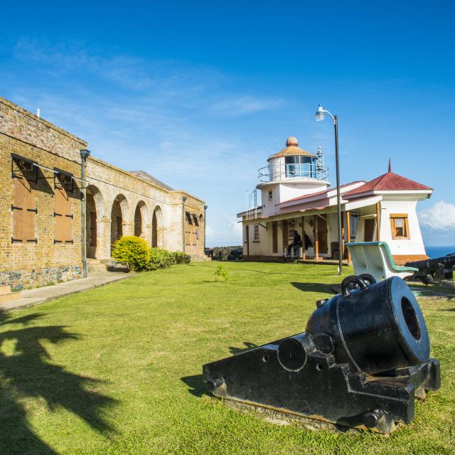 """Fort King George, Scarborough, Tobago, Trinidad and Tobago, West Indies,..."" stock image"