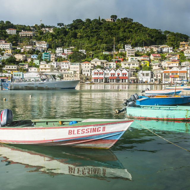 """Little motoboat in the inner harbour of St. Georges, capital of Grenada,..."" stock image"