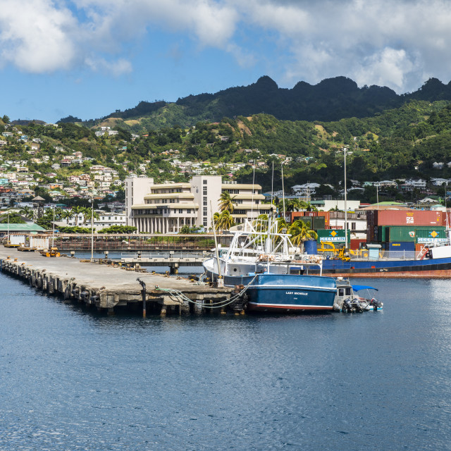 """""""The harbour of Kingstown, St. Vincent, St. Vincent and the Grenadines,..."""" stock image"""
