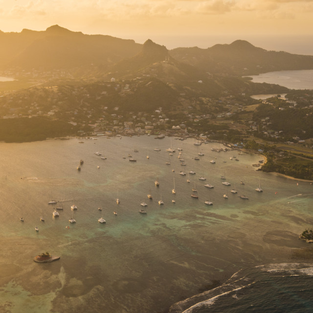 """""""Aerial of Union Island at sunset, The Grenadines, St. Vincent and the..."""" stock image"""