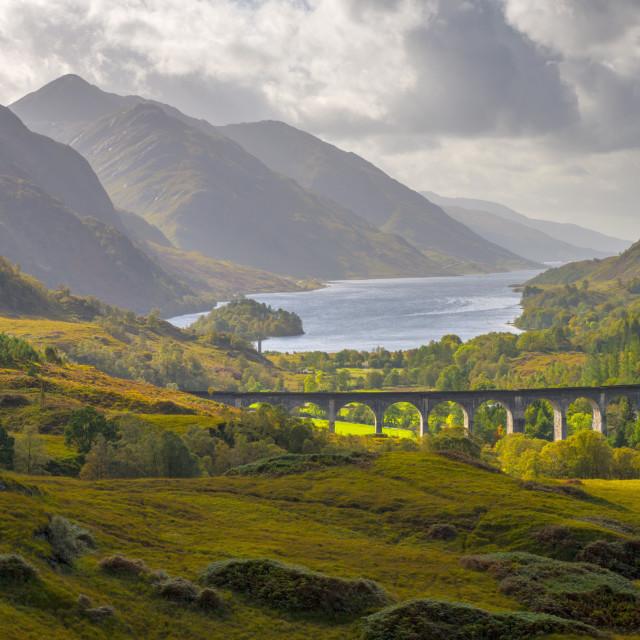 """Glenfinnan Railway Viaduct, part of the West Highland Line, Glenfinnan, Loch..."" stock image"