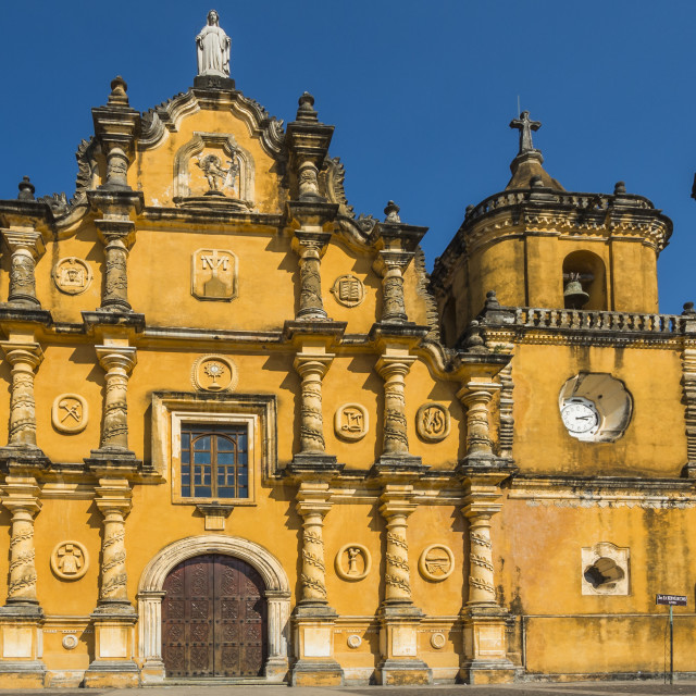 """Mexican-style baroque facade of the Iglesia de la Recoleccion church built in..."" stock image"