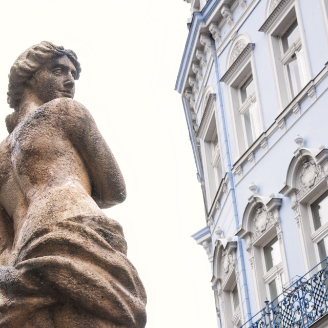 """""""Statue and architectural detail of a building in this Bohemian Spa town..."""" stock image"""