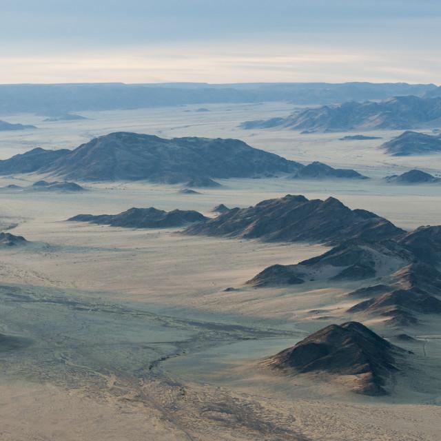 """Aerial view from hot air balloon over Sossusvlei at sunrise, Namib Desert,..."" stock image"