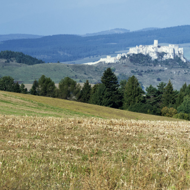 """Rural countryside outside Levoca with Spis Castle, UNESCO World Heritage..."" stock image"