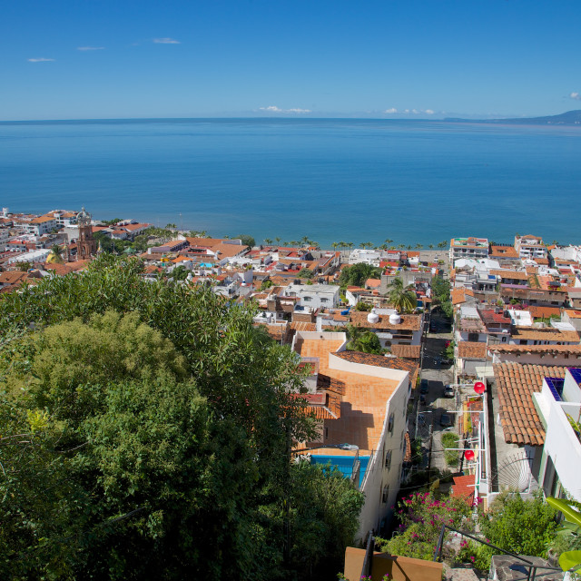 """""""View of Downtown, Puerto Vallarta, Jalisco, Mexico, North America"""" stock image"""