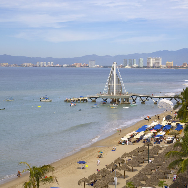 """""""View of beach in Downtown, Puerto Vallarta, Jalisco, Mexico, North America"""" stock image"""