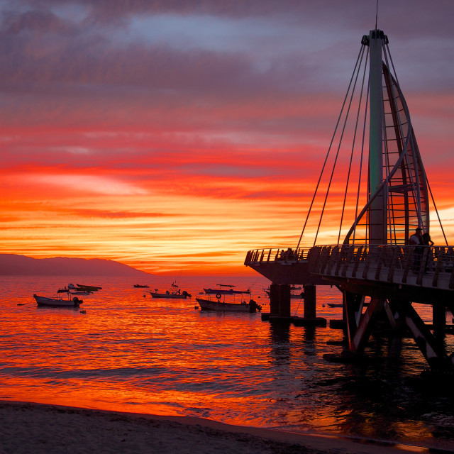 """""""Promenade and beach in Downtown at sunset, Puerto Vallarta, Jalisco, Mexico,..."""" stock image"""