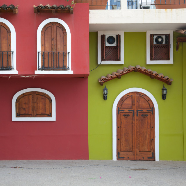"""""""Colourful houses, Downtown, Puerto Vallarta, Jalisco, Mexico, North America"""" stock image"""