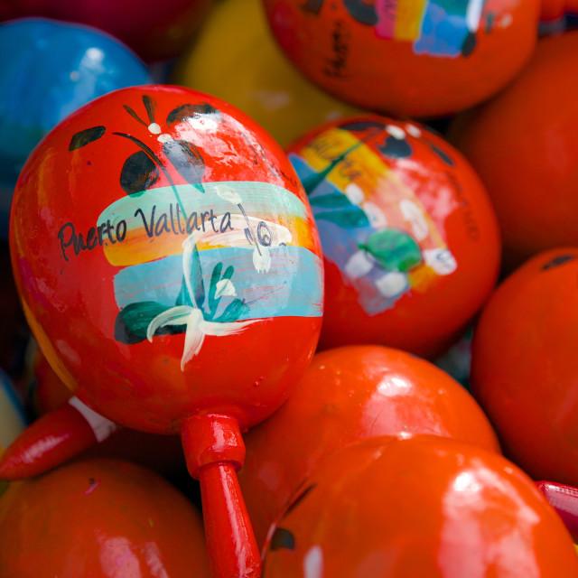 """Souvenirs on Promenade, Downtown, Puerto Vallarta, Jalisco, Mexico, North..."" stock image"